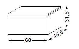 Meuble complémentaire HALO chêne massif avec LED poignée intégrée 60 cm - SANIJURA Réf. 112709