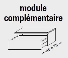 Meuble complémentaire HALO chêne massif sans LED poignée bois 120 cm - 1 tiroir - SANIJURA Réf. 112518