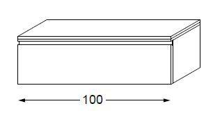 Meuble complémentaire HALO chêne massif sans LED poignée intégrée 100 cm - SANIJURA Réf. 112711