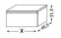 Meuble complémentaire HALO chêne massif sans LED poignée intégrée 90 cm - SANIJURA Réf. 112724