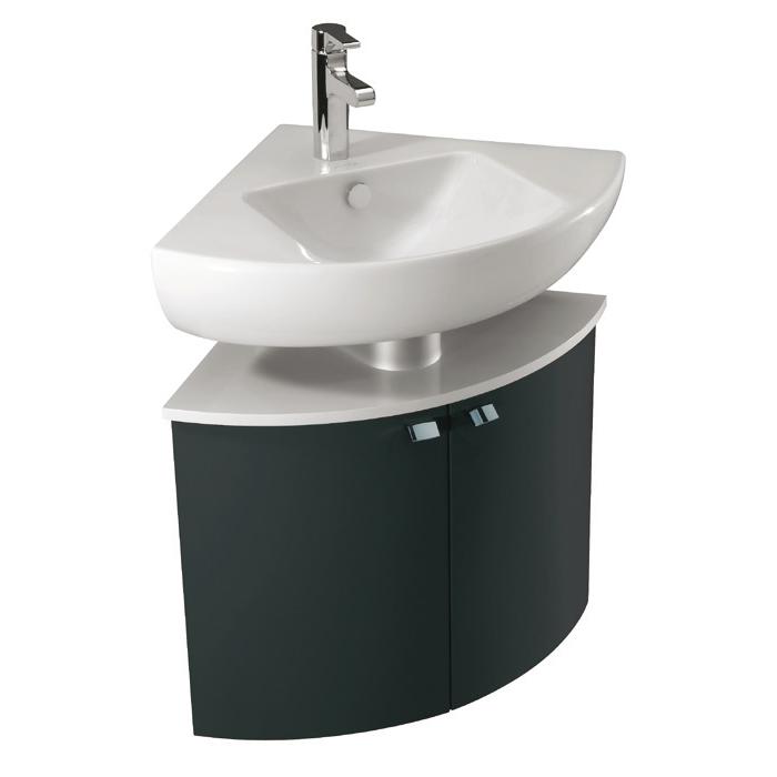 meuble d 39 angle pour lavabo od on up l 68 2 portes laque brillante gris anthracite jacob. Black Bedroom Furniture Sets. Home Design Ideas
