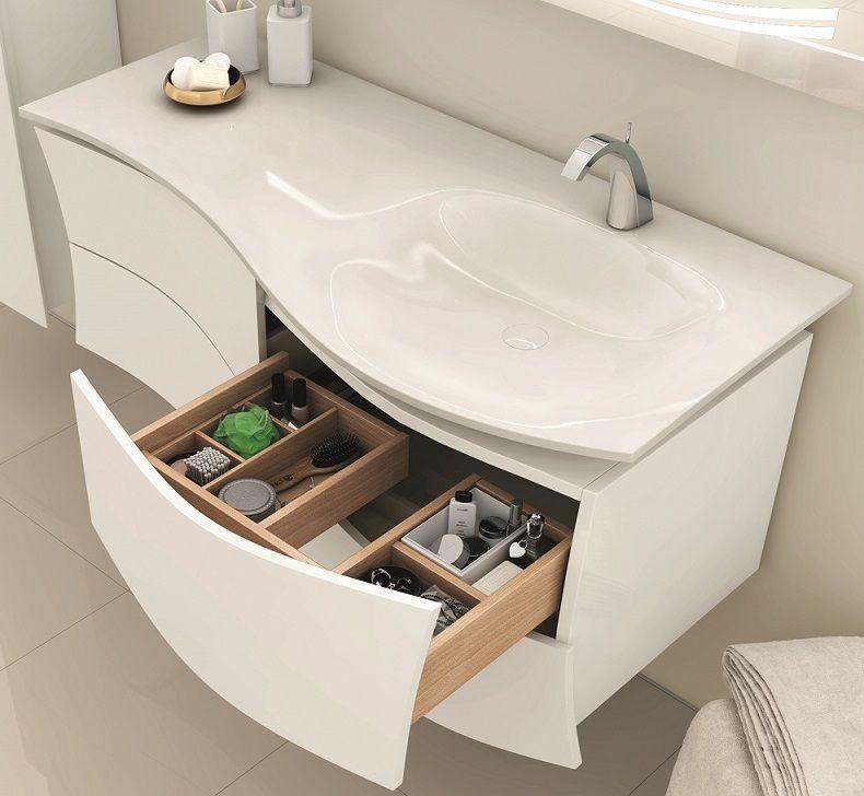 Meuble Decotec Maestro 130cm vasque à droite 4 tiroirs Laque + plan vasque  Céramyl Blanc