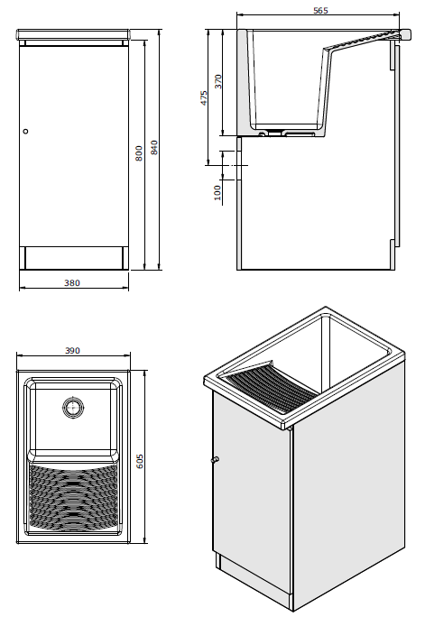 Meuble pour bac à laver Riba 40cm Blanc - SANINDUSA Réf. 660400