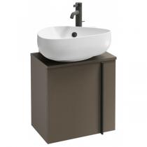 Meuble sous lave-mains Nouvelle Vague 45cm version droite 1 porte mélaminé cuir Taupe - JACOB DELAFON Réf. EB3045D-NR2