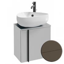 Meuble sous lave-mains Nouvelle Vague 45cm version gauche 1 porte mélaminé cuir Taupe - JACOB DELAFON Réf. EB3045G-NR2