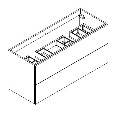 Meuble sous-plan ARCHITECT 120cm 2 tiroirs (double vasque) Chêne halifax naturel / poignées au choix - AQUARINE Réf. 241988