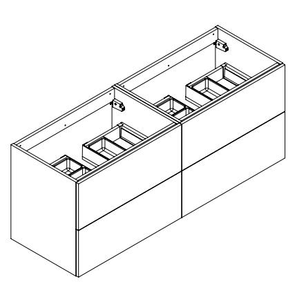 Meuble sous-plan ARCHITECT 140cm 4 tiroirs prise de main Graphite Brillant - Aquarine Réf. 245443