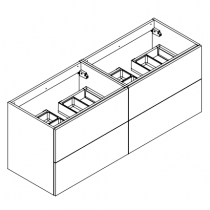 Meuble sous-plan ARCHITECT 140cm 4 tiroirs push-pull Chêne Arlington - AQUARINE Réf. 244219