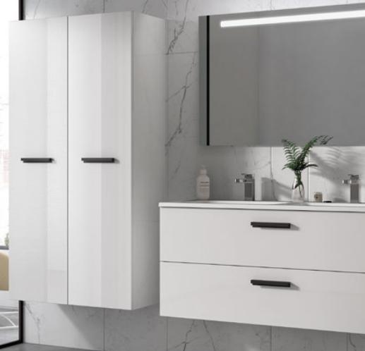 Meuble sous-plan ARCHITECT 60cm 1 tiroir Blanc brillant laqué - poignée au choix - AQUARINE Réf. 241934