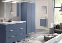 Meuble sous-plan ARCHITECT 60cm 1 tiroir Bleu Baltique Mat / poignée sur chant - AQUARINE Réf. 243609
