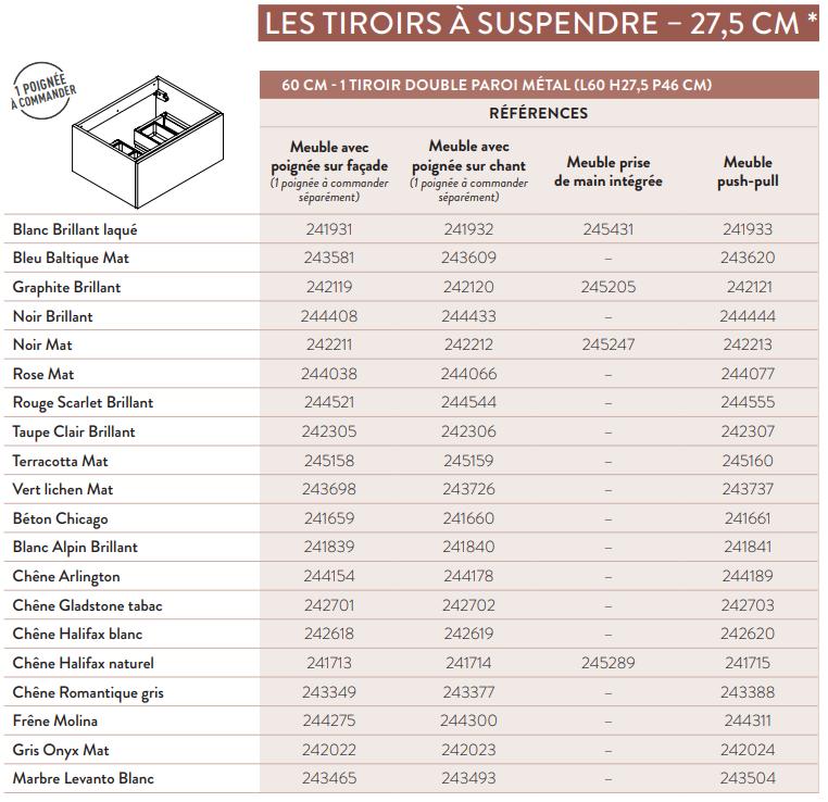 Meuble sous-plan ARCHITECT 60cm 1 tiroir Gris onyx mat - AQUARINE Réf. 242022