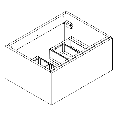 Meuble sous-plan ARCHITECT 60cm 1 tiroir push-pull Béton chicago- AQUARINE Réf. 241661