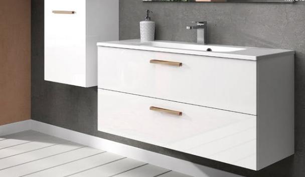 Meuble sous-plan ARCHITECT 60cm 1 tiroir push-pull Blanc brillant laqué - AQUARINE Réf. 241933