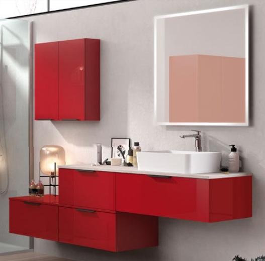 Meuble sous-plan ARCHITECT 60cm 1 tiroir Rouge Scarlet Brillant - AQUARINE Réf. 244521