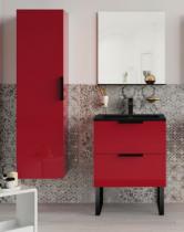 Meuble sous-plan ARCHITECT 60cm 1 tiroir Rouge Scarlet Brillant / poignée sur chant - AQUARINE Réf. 244544