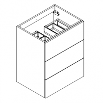 Meuble sous-plan ARCHITECT 60cm 3 tiroirs Chêne Arlington / poignées sur chant - AQUARINE Réf. 244221