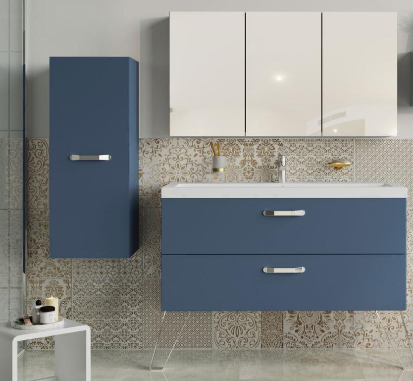 Meuble sous-plan ARCHITECT 70cm 1 tiroir Bleu Baltique Mat - poignée au choix -- AQUARINE Réf. 243631