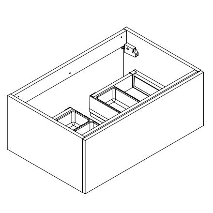 Meuble sous-plan ARCHITECT 70cm 1 tiroir Chêne Romantique gris - poignée sur chant - AQUARINE Réf. 243410