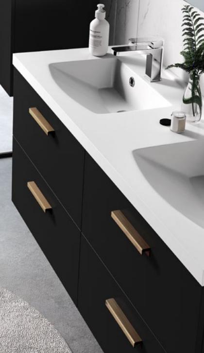 Meuble sous-plan ARCHITECT 70cm 1 tiroir Noir mat - poignée au choix -  AQUARINE Réf. 242214