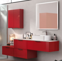 Meuble sous-plan ARCHITECT 70cm 1 tiroir push pull Rouge Scarlet Brillant - AQUARINE Réf. 244588