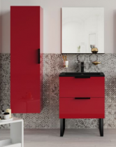Meuble sous-plan ARCHITECT 70cm 1 tiroir Rouge scarlet brillant - poignée au choix - AQUARINE Réf. 244566