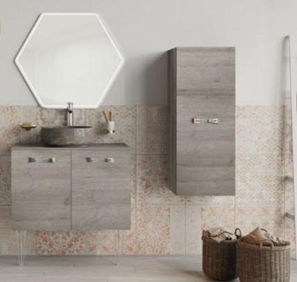 Meuble sous-plan ARCHITECT 80cm 1 tiroir Chêne Romantique gris / poignée au choix -  AQUARINE Réf. 243432
