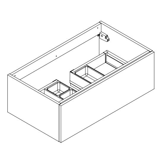 Meuble sous-plan ARCHITECT 80cm 1 tiroir Graphite brillant / poigée au choix - AQUARINE Réf. 242125