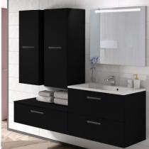 Meuble sous-plan ARCHITECT 80cm 1 tiroir Noir mat / poignée au choix - AQUARINE Réf. 242217