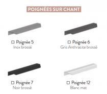 Meuble sous-plan ARCHITECT 80cm 1 tiroir Noir mat / poignée sur chant - AQUARINE Réf. 242218