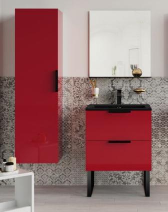 Meuble sous-plan ARCHITECT 80cm 1 tiroir Rouge Scarlet Brillant / poignée au choix - AQUARINE Réf. 244599