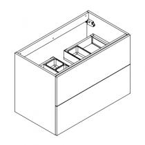 Meuble sous-plan ARCHITECT 80cm 2 tiroirs Chêne Halifax Blanc / poignées au choix - AQUARINE Réf. 242648
