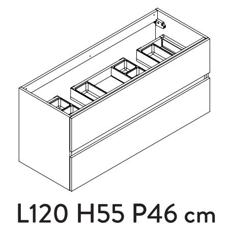 Meuble sous-plan PREFIXE PLUS 120cm 2 tiroirs Chêne Sand poignées au choix - AQUARINE Réf. 241502