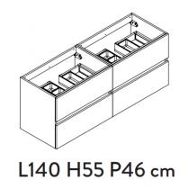 Meuble sous-plan PREFIXE PLUS 140cm 4 tiroirs Blanc brillant laqué - Aquarine Réf. 245558