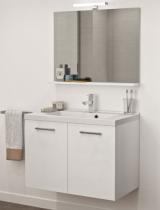 Meuble sous-plan PREFIXE PLUS 140cm 4 tiroirs Blanc brillant laqué poignées au choix -  Aquarine Réf. 245534