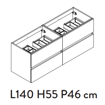 Meuble sous-plan PREFIXE PLUS 140cm 4 tiroirs Chêne Sand - AQUARINE Réf. 241537