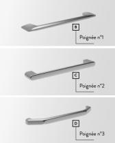 Meuble sous-plan PREFIXE PLUS 140cm 4 tiroirs Gris foncé brillant poignées au choix - Aquarine Réf. 24
