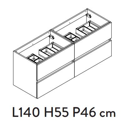 Meuble sous-plan PREFIXE PLUS 140cm 4 tiroirs Gris Onyx mat - AQUARINE Réf. 241535