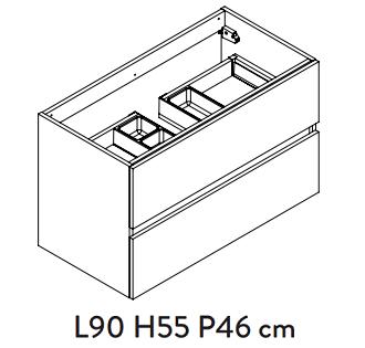 Meuble sous-plan PREFIXE PLUS 90cm 2 tiroirs Blanc brillant laqué poignées au choix - Aquarine Réf. 24