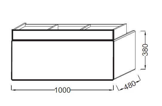Meuble sous-plan vasque Terrace L 100 1 plumier + 1 tiroir Laque Brillante Noir - JACOB DELAFON Réf. EB1187-274