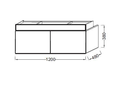 Meuble sous-plan vasque Terrace L 120 1 plumier + 2 tiroirs Laque Brillante Noir - JACOB DELAFON Réf. EB1188-274