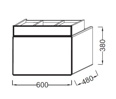 Meuble sous-plan vasque Terrace L 60 1 plumier + 1 tiroir Laque Brillante Noir - JACOB DELAFON Réf. EB1185-274