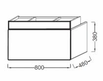Meuble sous-plan vasque Terrace L 80 1 plumier + 1 tiroir Laque Brillante Noir - JACOB DELAFON Réf. EB1186-274