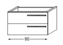 Meuble sous table HALO chêne massif avec LED poignée bois 80 cm - SANIJURA Réf. 115520
