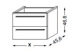 Meuble sous table HALO chêne massif avec LED poignée bois 90 cm - SANIJURA Réf. 115529