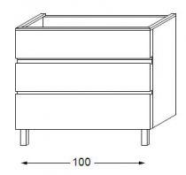 Meuble sous table HALO chêne massif avec LED poignée intégrée 100 cm - SANIJURA Réf. 115853