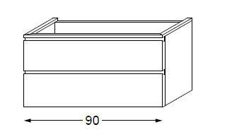 Meuble sous table HALO chêne massif avec LED poignée intégrée 90 cm - SANIJURA Réf. 115792