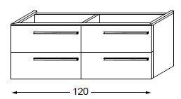 Meuble sous table HALO chêne massif avec LED pour double vasque poignée bois 120 cm - 2x2 tiroirs - SANIJURA Réf. 115670