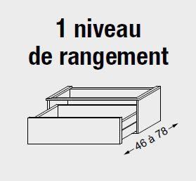 Meuble sous table HALO chêne massif avec LED pour double vasque poignée intégrée 120 cm - 1 tiroir - SANIJURA Réf. 115735