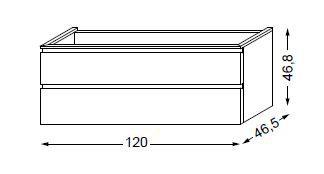 Meuble sous table HALO chêne massif avec LED pour monovasque poignée intégrée 120 cm - 2x1 tiroir - SANIJURA Réf. 115794