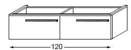 Meuble sous table HALO chêne massif avec LED pour vasque à droite poignée bois 120 cm - 2 tiroirs - SANIJURA Réf. 115630